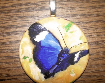 Butterfly Pendant Blue and Yellow hand painted