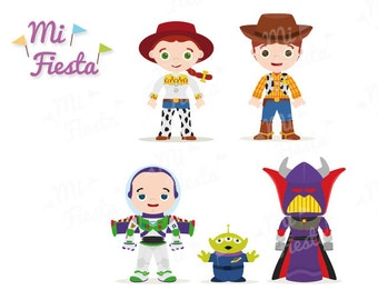 Toy Story Inspired Set Jessie Woody Buzz Lightyear Zurg And Green Alien Clipart Party