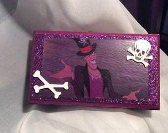 Dr. Facilier Shadow Man Small Keepsake/Treasure/Jewelry Box Disney's Princess and the Frog w/ Crossbones and Purple Glitter w/ FREE Gift