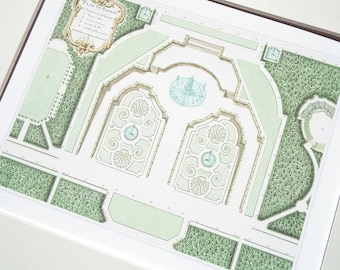 French Antique Garden Plan Detail of Château de Petit-Bourg 3 Archival Print on Watercolor Paper
