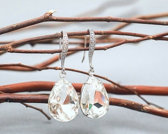 Wedding Earrings, Bridesmaid Earrings, Clear Crystal Teardrop Bridal Earrings