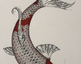Pen and Ink Koi - Print of Original