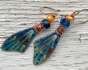 Little Wings, artisan enameled copper earrings