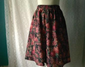 Vintage Floral Circle Skirt M L