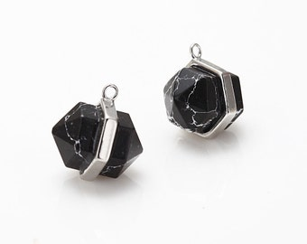 Black Marble Gemstone Pointed Pendant, Howlite Charm Polished Rhodium -Plated - 2 Pieces [G011701-PRBM]