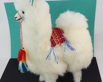 Handmade Authentic Peruvian Llama Doll with Alpaca Fur 15 inch