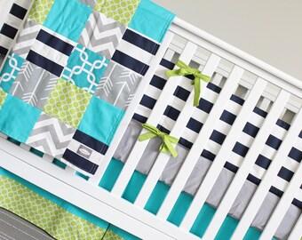 Crib Bedding, Nursery Bedding Set, Teal, Lime Green, Gray, Navy Blue - Striped Bumper Pad, Crib Sheet, Crib Skirt, Arrow Patchwork Blanekt