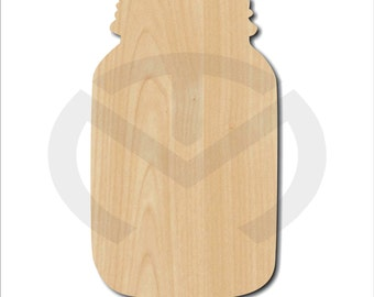 Mason Jar   01589  Unfinished Wood Laser Cutout, Door Hanger, Wreath  Accent, Ready To Paint U0026 Personalize, Various Sizes