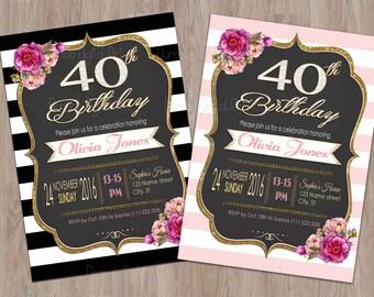 40th birthday invitation women, 40th birthday invitation for women, 40th birthday invite, 40th invitations, 40th birthday party invitations