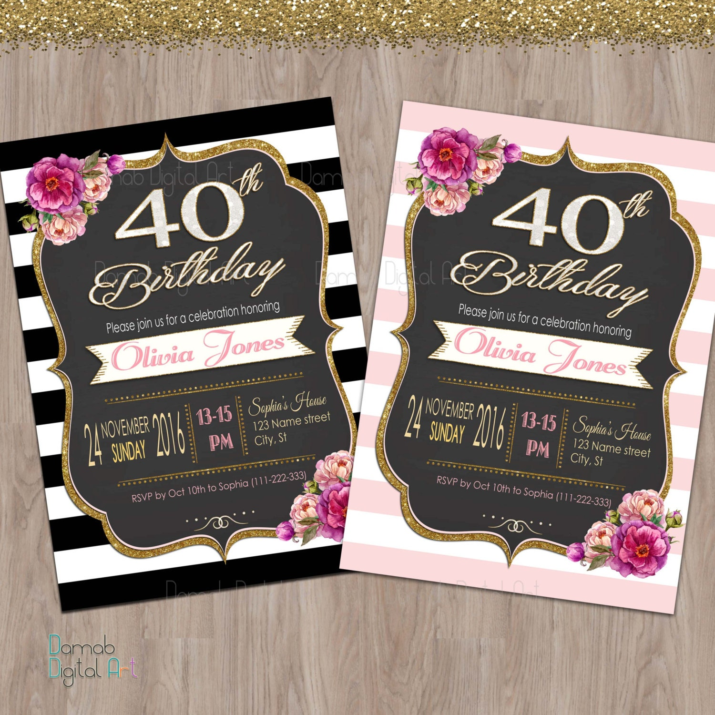 40th birthday invitation women 40th birthday invitation for