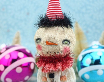 CHARLES THE SNOWMAN - An adorable Christmas art doll that once was a plastic doll, dressed with handmade clothes created by Danita Art.