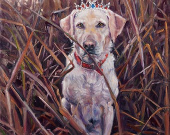 """ModernMillie, dog painting custom pet portrait Oil Painting by puci, 10x10"""""""