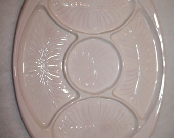 Pink opaque glass divided platter with handles Cambridge Glass (Ohio) circa 1930s