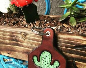 Serape Leather Ear Tag Keychain