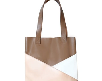 KABAZEN color block leather tote