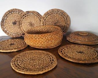 Vintage Retro Basket of Trivets Set of 6 inside Woven Basket