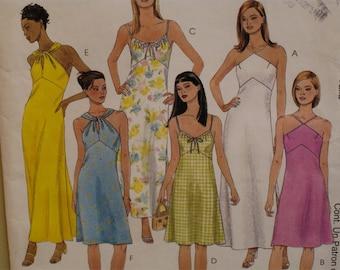 "Bare Shoulder Sundress Pattern, Straps, Twist  Halter, Fitted Bodice, A-Line Skirt, McCalls No. 2187 Size 4 6 8 (Bust 29.5-31.5"" 75-80cm)"