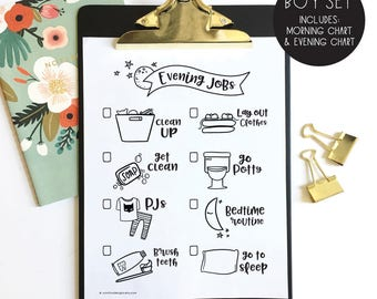 chore chart instant printable - DIY - morning jobs - evening jobs - children's jobs and responsibilities - hand illustrated - coloring page