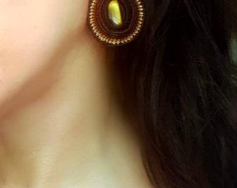 Oval micro macrame tiger eye gemstone elegant earrings