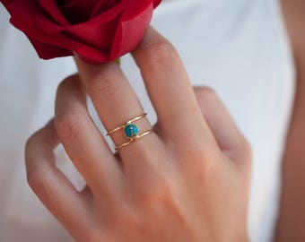 Copper Turquoise Ring * Gold * Statement * Gemstone * Natural * Organic * Ocean * Blue * Mermaid * Handmde * Double Band * Everyday BJR077