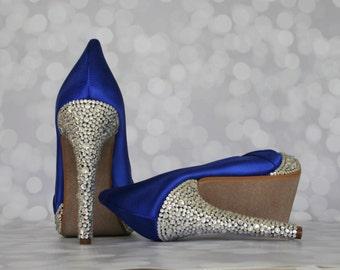 Custom Wedding Shoes, Blue Wedding Shoes, Blue Wedding, Something Blue, Something Blue Shoes, Crystal Shoes, Wedding Bling, Wedding Shoes