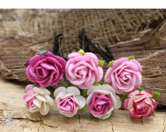 Pink Rose Hairpins, Mulberry Paper Flower Hair Pins , Bridal Hair Pins, Hair Bobby Pins,Prom,Bridal Hair Accessories (FL367)
