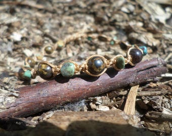 """Bracelet """"productive relaxation"""" pieces of turquoise and bronzite beads"""