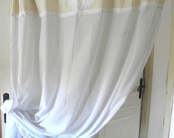 """Curtain """"INITIALS"""", Vintage, handmade, white, lace, ribbons, ancient style"""