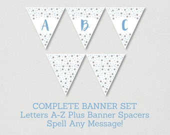 Twinkle Little Star Banner / Twinkle Star Baby Shower / Silver Glitter Star / Blue & Silver / Letters A-Z / Printable INSTANT DOWNLOAD A164