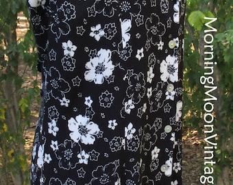 FLORAL MAXI, BLACK & White Midi, Button-Down Dress, Vintage 90s Boho Grunge, Sleeveless Duster, Rayon Gauze, black sundress, Hippie festival