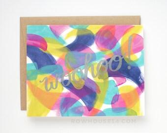 SALE - Congratulations Card - Woohoo - Abstract Letterpress Card