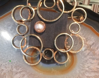 Mid Century Atomic Silver and Gold Brooch West Germany
