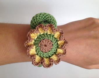 Crochet jewelry, Boho crochet bracelet, Spring flower crochet jewelry, Sailors knot bracelet, Statement bracelet, Crochet jewelry for women