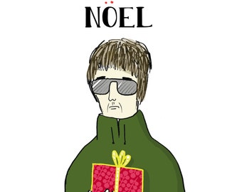 "Funny Christmas Card: Noel Gallegher ""Noël"" Pun -- Joke Greeting Card"