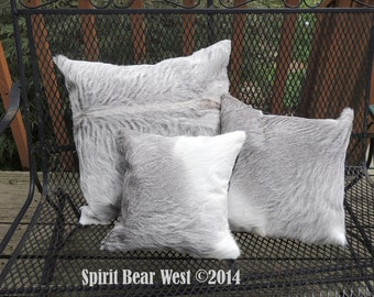 "Pillow Silver Calf Cowhide Pillow 12""x 12"" Deluxe  Cowboy Decor Western Southwest Cowboy Christmas L-at PRICE REDUCED"