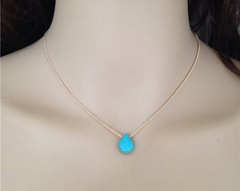 Turquoise Necklace Tiny Turquoise Necklace  gold filled necklace, simple turquoise necklace,  Dainty Turquoise Necklace -