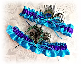 Peacock Wedding Bridal Garter Set, Turquoise and Regency Purple Satin Garters - Something Blue Garters