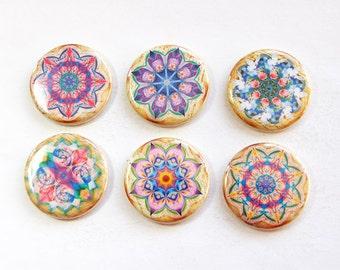 Mandala Magnets, Magnets, button magnets, Locker Magnets, Kitchen Magnets, Abstract Design, Mandala, pink, purple, stocking stuffer (3298)