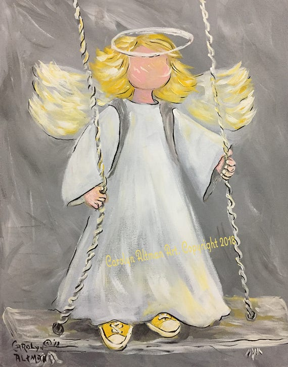 Angel on the Playground Swing Art Prints and Note Cards| Swing Low Sweet Angel and Protect Children | Painting by Carolyn Altman
