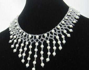 Bridal White Pearl Beaded Necklace Choker - Wedding Jewelry - Bridal Pearl Bib Style Necklace