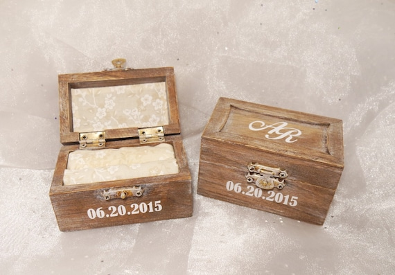 Personalized Initials and Date Wedding Ring Bearer Ring Box