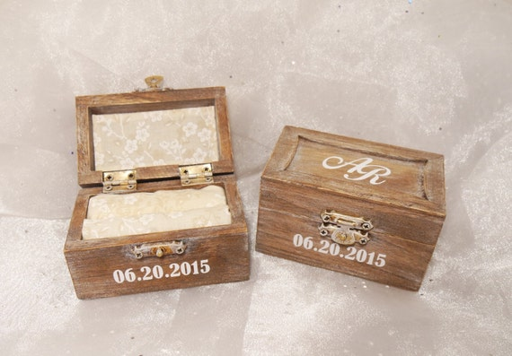 Nice Personalized Initials And Date Wedding Ring Bearer Ring Box