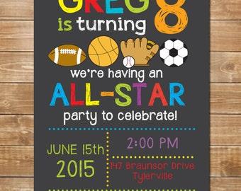 Chalkboard Sports Birthday Invitation, Printable File, Baseball, Soccer Invite, Football Invite, Boys Birthday Invitation, Personalized