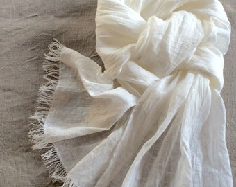 White linen scarf, washed gauzy bridal scarf with fringe, long lightweight shawl for women