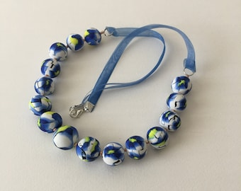 Blue flowers white necklace/beaded necklaces/romantic ornament necklace/jewelry gifts/gift for women/wife gift/gift for mom/gift for teacher