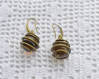 Handmade Glass Earrings, Glass Earrings Brass plated,Cluster Earrings