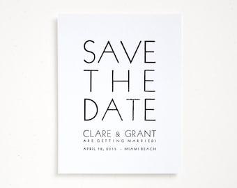 TROPEZ Letterpress Save the Dates - Bold Wedding / Modern Typography