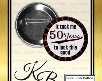 "2.25"" 50th Birthday Button, Adult Birthday Button, Happy Birthday Pin, Senior Birthday Button, Birthday Party Button, Adult Birthday Pin"