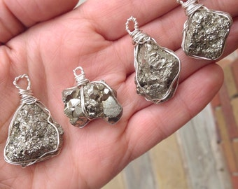 Raw Rough Pyrite Wire Wrapped Pendant Necklace // Crystal Healing Pendant