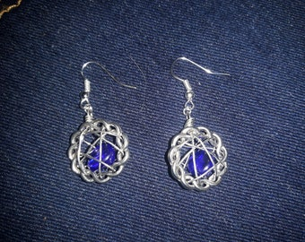 Sea glass wire caged earrings